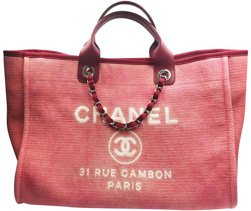 c9976aa6b671 Chanel Deauville Bag Denim Large Red Canvas Tote - Tradesy