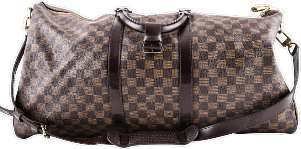 c5eb794872f7 Louis Vuitton Keepall Damier Ebene Bandoulière 55 Brown Canvas  Weekend Travel Bag