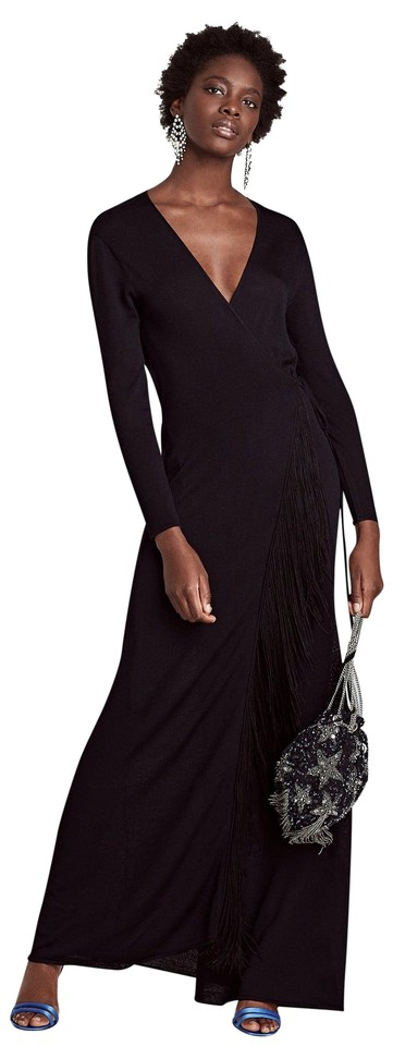 Zara Black Asymmetrical Fringe Draped Sleeveless Long Casual Maxi