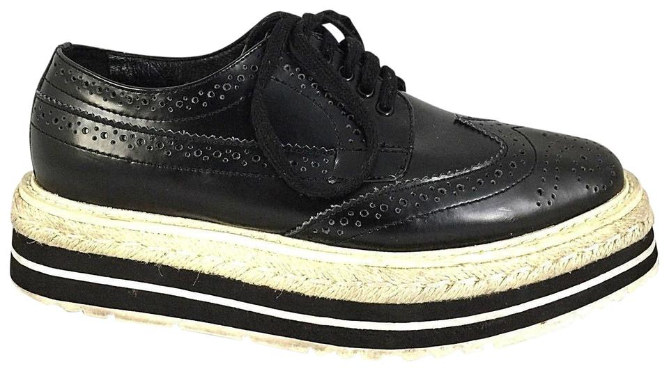 0b030a8c Prada Black Wingtip Brogue Platform Sneaker Lace Leather 33 3 Oxford Flats  Size US 4 Regular (M, B) 65% off retail
