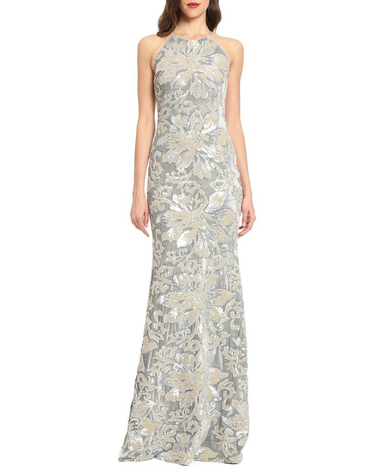 Badgley Mischka Silver Mermaid Sequin & Evening Gown Long Formal ...