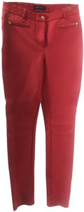 Pink Tartan Zipper Gold Stitching Skinny Pants Red