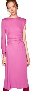 Pink Maxi Dress by Zara Drawstring Longsleeve One Shoulder Bodycon Cinched