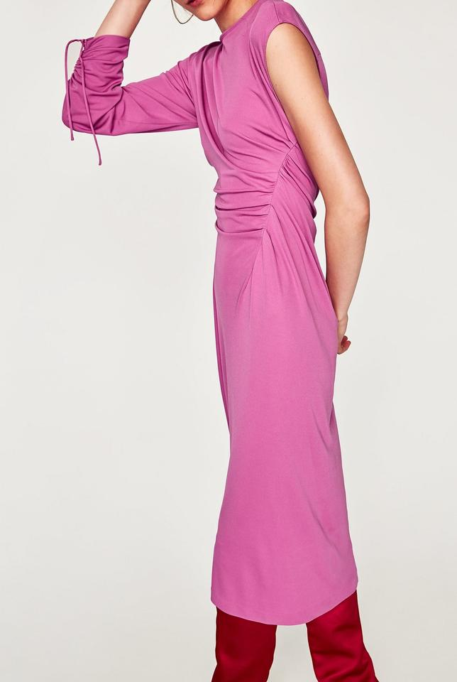 6e363335 Zara Pink Gathered Cinched with Asymmetric Drawstring One Sleeve ...