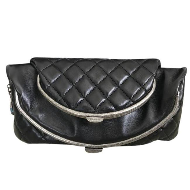 Chanel Tabatiere Kisslock Quilted Foldover Black Lambskin Leather Clutch Chanel Tabatiere Kisslock Quilted Foldover Black Lambskin Leather Clutch Image 1