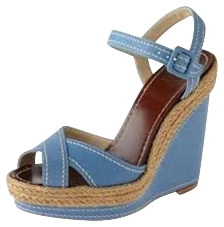 cc585f357d3 Christian Louboutin Blue Almeria Leather Espadrille Wedge Heels Sandals  Platforms