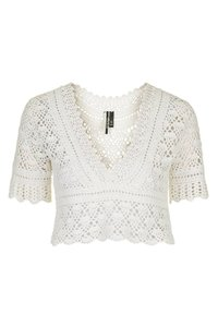 Topshop Crochet Crop Coachella Top Ivory