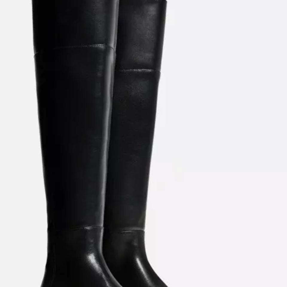 c408dd63dbc Zara Black Faux Leather Flat Over The Knee with Slit Boots Booties Size US  8 Regular (M