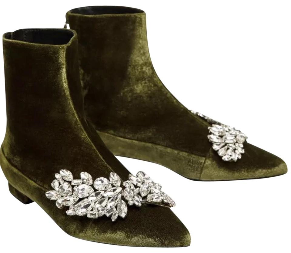 314b7d8df16 Zara Green New Flat Velvet Ankle with Gem Detail Boots Booties Size ...