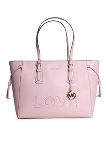 d28cf2487255 MICHAEL Michael Kors Voyager Large Crossgrain Leather Top-zip Shoulder Tote  in Soft Pink
