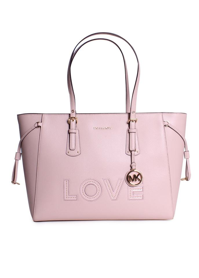 0a08cb2d85c4 MICHAEL Michael Kors Voyager Large Crossgrain Leather Top-zip Shoulder Tote  in Soft Pink Image ...