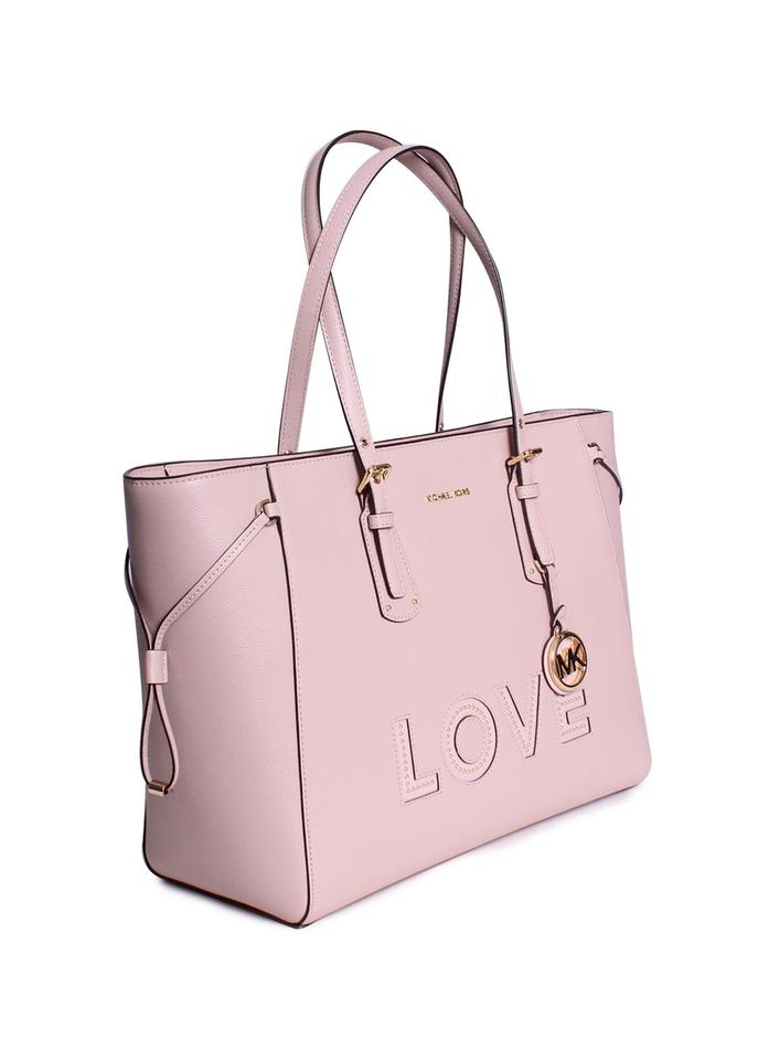 a3b2098f07859b MICHAEL Michael Kors Voyager Large Crossgrain Leather Top-zip Shoulder Tote  in Soft Pink Image. 12345