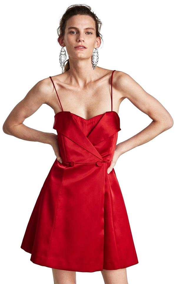 Zara Red Satin Buttoned Corset Design Short Cocktail Dress Size 8 (M ...
