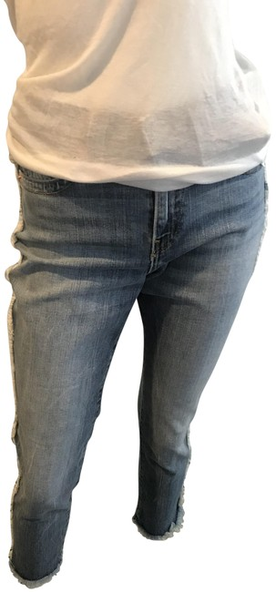 True Religion Blue Distressed 81318 Colette High Rise Tapered Skinny Two Faced Capri/Cropped Jeans Size 27 (4, S) True Religion Blue Distressed 81318 Colette High Rise Tapered Skinny Two Faced Capri/Cropped Jeans Size 27 (4, S) Image 1