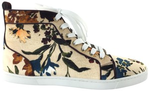 Christian Louboutin Sneakers Classics High Tops Coral Tan Floral Print Athletic