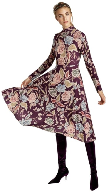 Item - Purple Multi Long Sleeve Flower Print Mid-length Cocktail Dress Size 8 (M)