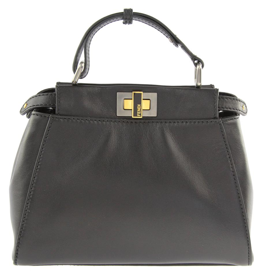 4b624b2c6b Fendi Mini Peekaboo Black Leather Tote - Tradesy