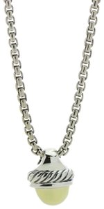 David Yurman David Yurman Cable Classics Acorn Pendant Necklace in Gold and Silver