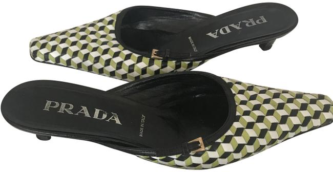 Item - Black/White/Green 64318 Black/White/Green Woven Leather Slipon Square Toe Mules/Slides Size EU 37.5 (Approx. US 7.5) Regular (M, B)