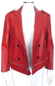 3.1 Phillip Lim Red Leather w/ Silver zipper detail Leather Jacket