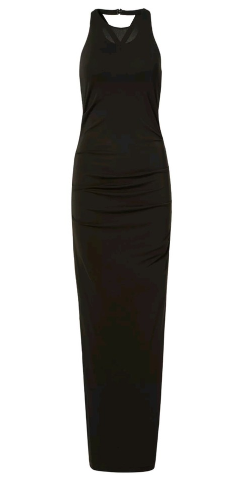 Nicole Miller Black Lined Maxi Sheath Acetate Sleeveless Gown ...
