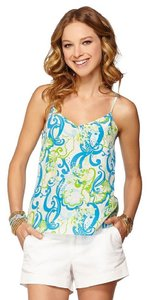 Lilly Pulitzer Racer-back Top Blue Green Crystal Coast Print