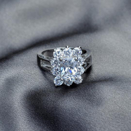 Other 18K White Gold White Sapphire Engagement Ring