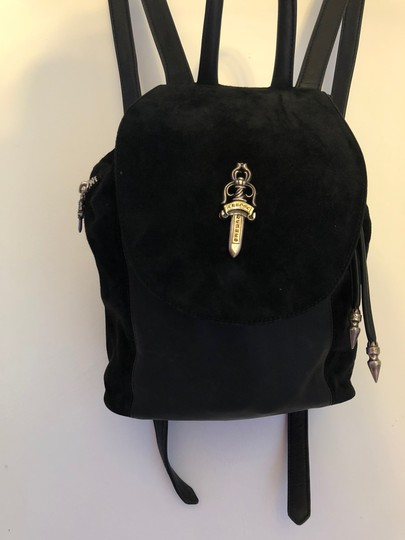 Chrome Hearts Backpack Leather Silver Hardware Black Beach Bag