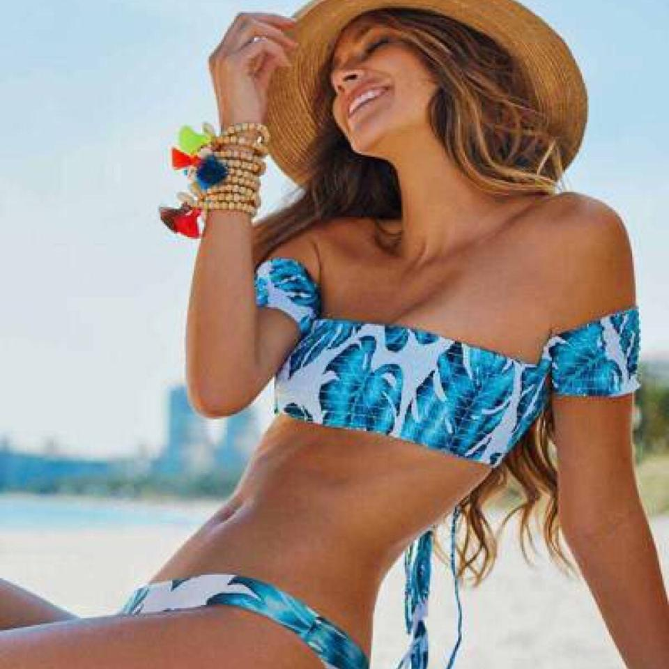 9b7f1f0f3b PilyQ Wailea Smocked Off The Shoulder bikini top and bottom Image 0 ...