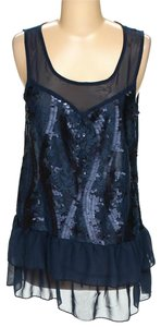 Love Squared Sleeveless Sequined Sequined Mesh Tank Top blue navy