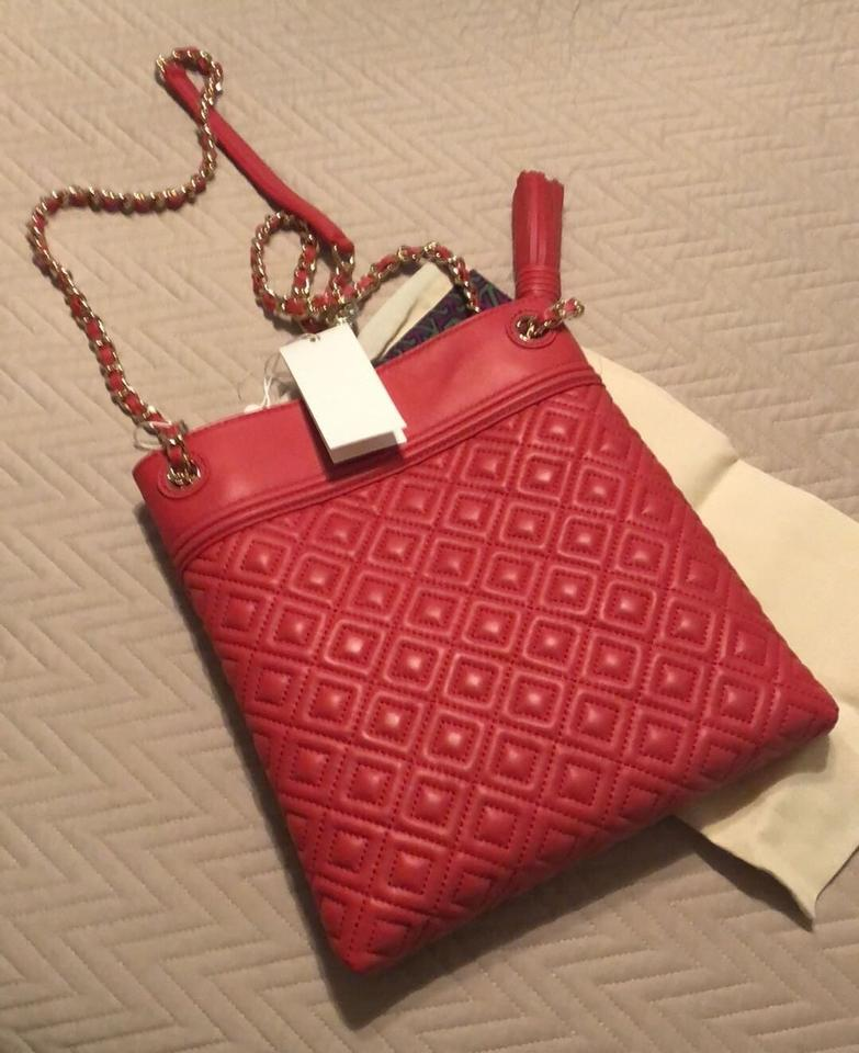55046ba87b5f Tory Burch Fleming Swingpack Quilted Red Leather Cross Body Bag ...