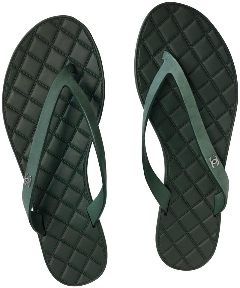 560bf5c9deac20 Chanel Green Classic Leather Strap Cc Quilted Flip Flop Thong ...