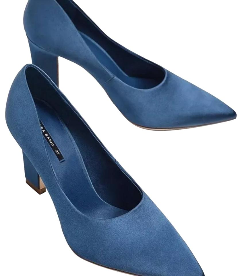 Zara Blue Satin High Court Heel Court High Pumps 2591d3