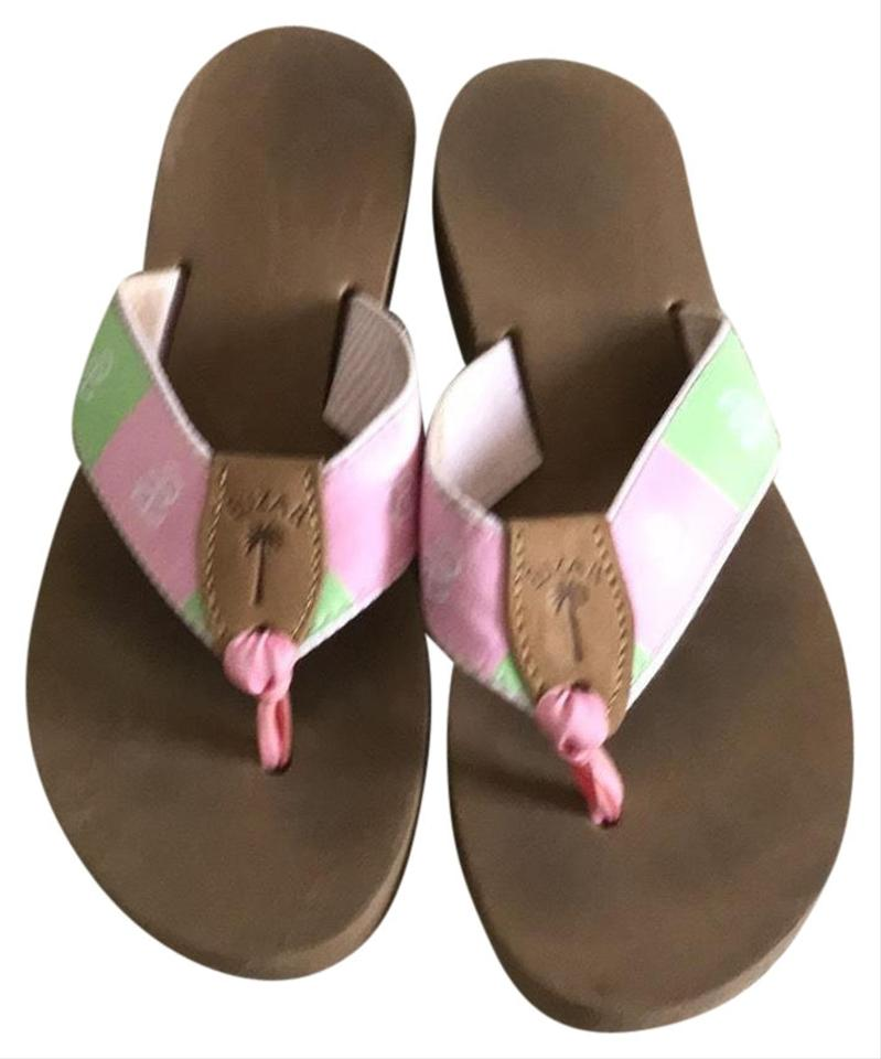 eae1dff38a2f7 Eliza B Pink and Green Nautical Sandals Size US 9 Regular (M