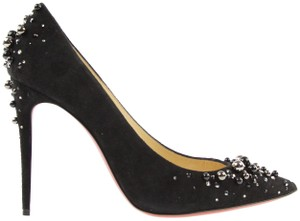 Christian Louboutin Heels Point Toe Candidate Pearls Suede Black Pumps