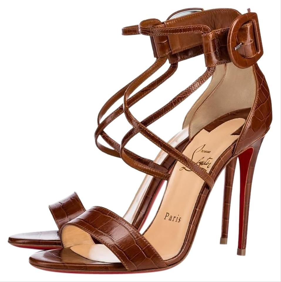 06cb1e7c292 Christian Louboutin Brown Classic Choca 100mm Croc Embossed Leather Cuoio  Buckle Ankle Strap Pumps