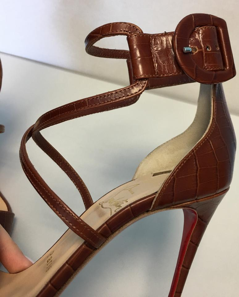 d29d6475c69 Christian Louboutin Classic Heels Strappy Choca Croc Brown Pumps Image 10.  1234567891011