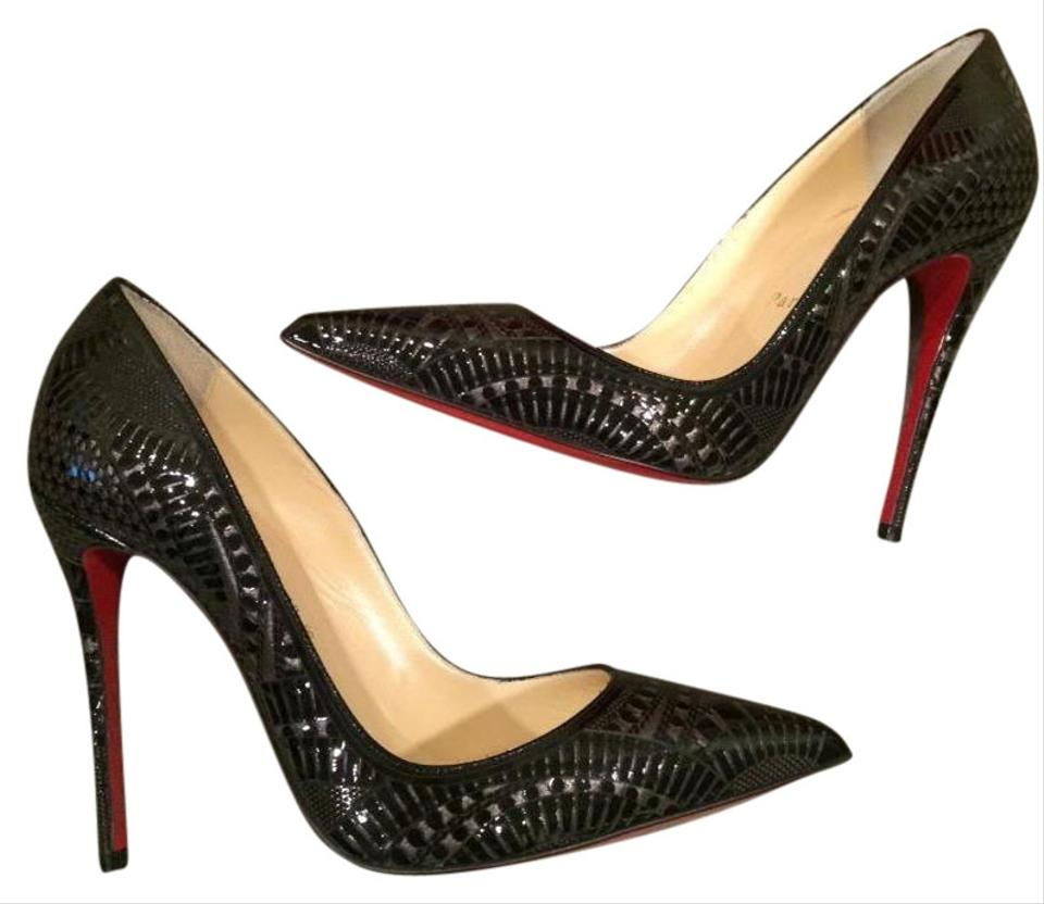 50e167dc5d58 Christian Louboutin Black Kristali 120 Laser Cut Patent Leather Pumps