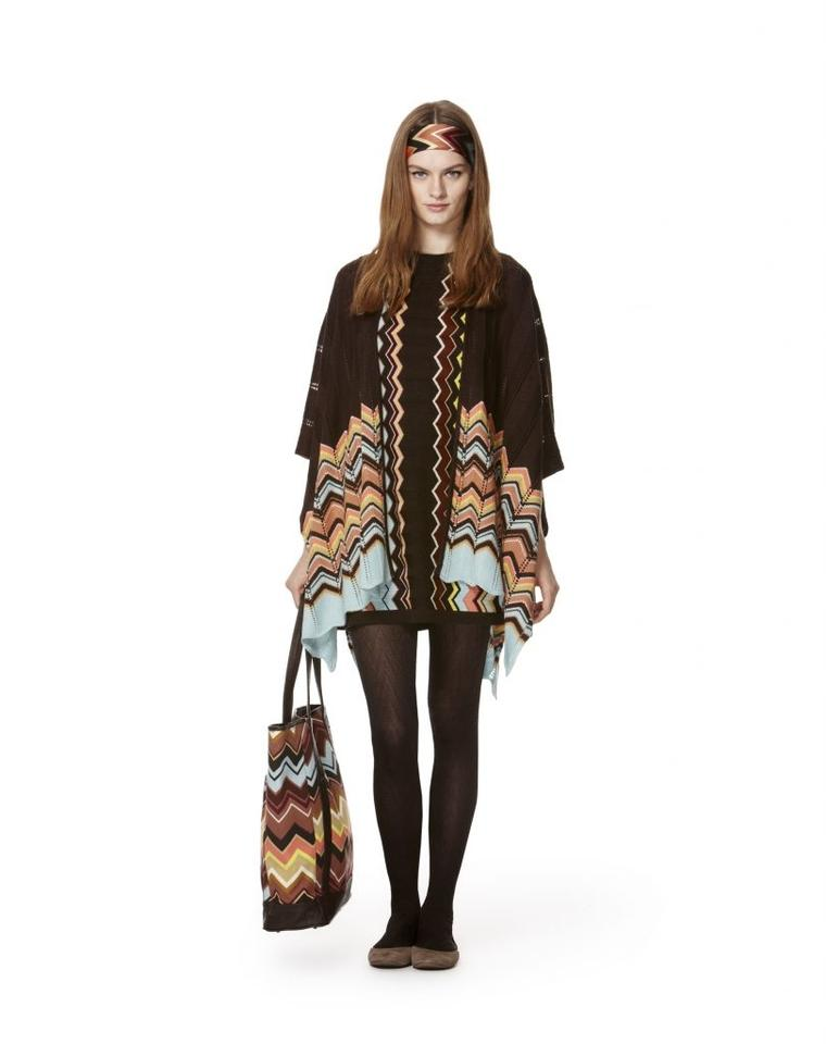 Missoni Brown/Blue/Yellow For Target Ruana Knit Wrap/Poncho Sweater  Poncho/Cape Size OS (one size)