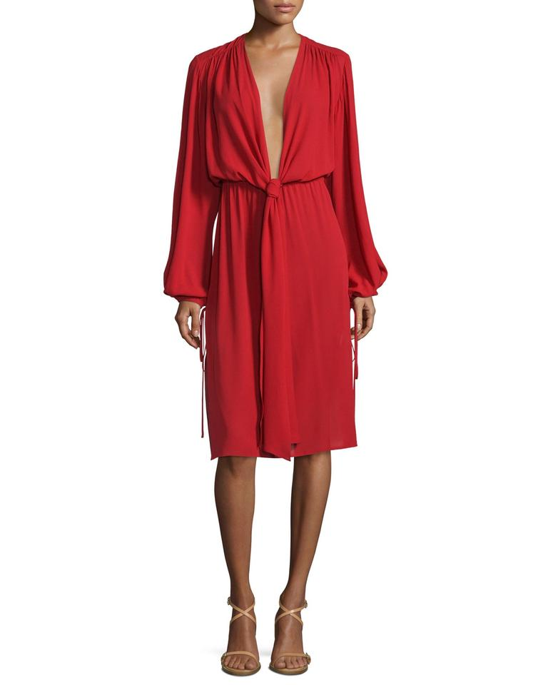 Michael Kors Collection Red Long Sleeve Plunging V Neck Dress