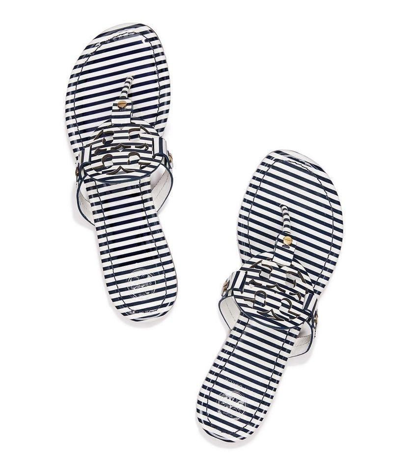 78b1cbf53320 Tory Burch Navy Blue White Miller Striped Patent Leather Flip Flops Flats  Sandals
