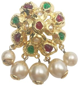 Chanel Chanel Vintage Gold Plated Multi Stone Faux Pearl Dangle Large Brooch