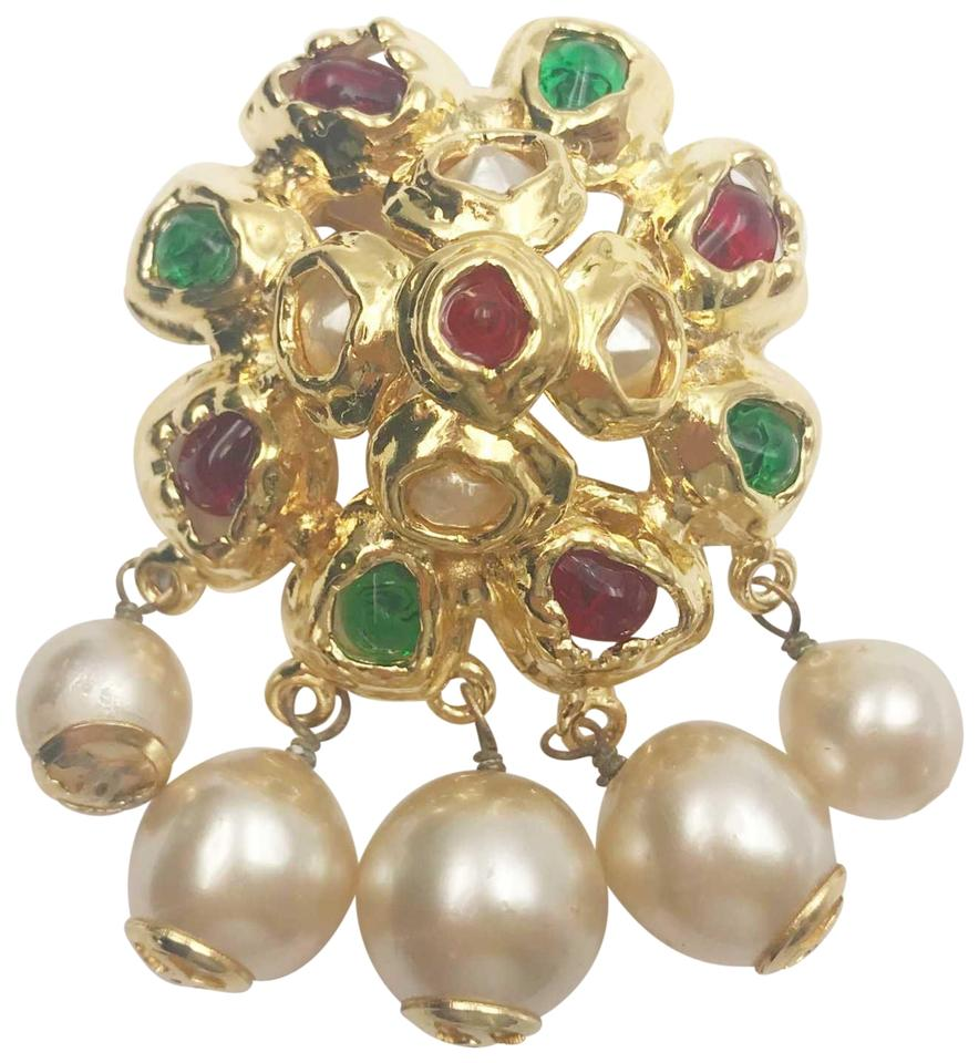 058ab78ed63e Chanel Chanel Vintage Gold Plated Multi Stone Faux Pearl Dangle Large  Brooch Image 0 ...