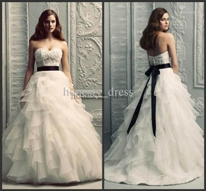 Paloma Blanca White Lace/Organza 4208 Formal Wedding Dress Size 6 (S)