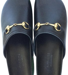 f91e6af7cd770e Gucci Black River Leather Mules Sandals Size US 12 Regular (M