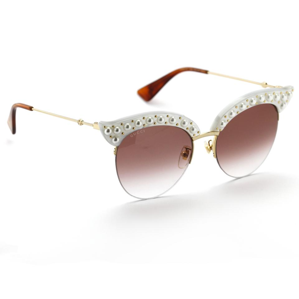 6922d37eff Gucci Gold and Red 0212s Cat Eye with Pearls Gradient Lens Sunglasses -  Tradesy