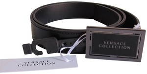 """Versace Versace Men Leather Belt Sz M/L 40"""" Two Tone Metal Buckle NWT and Box"""