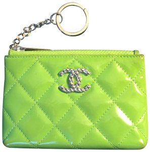 Chanel CHANEL Lime Green Patent Quilted Zip Coin Purse With Key Ring!