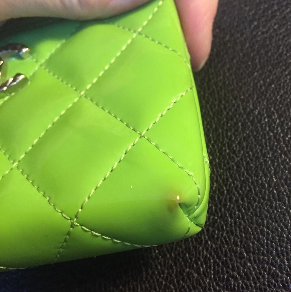 bf6a1e5bb8c5 Chanel CHANEL Lime Green Patent Quilted Zip Coin Purse With Key Ring! Image  11. 123456789101112