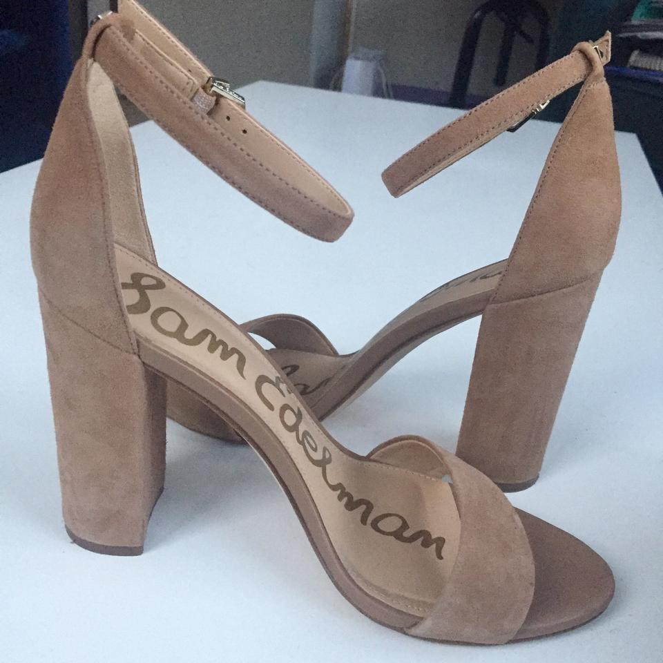 Sam Edelman Oatmeal Camel Suede Yaro Ankle Strap Sandals